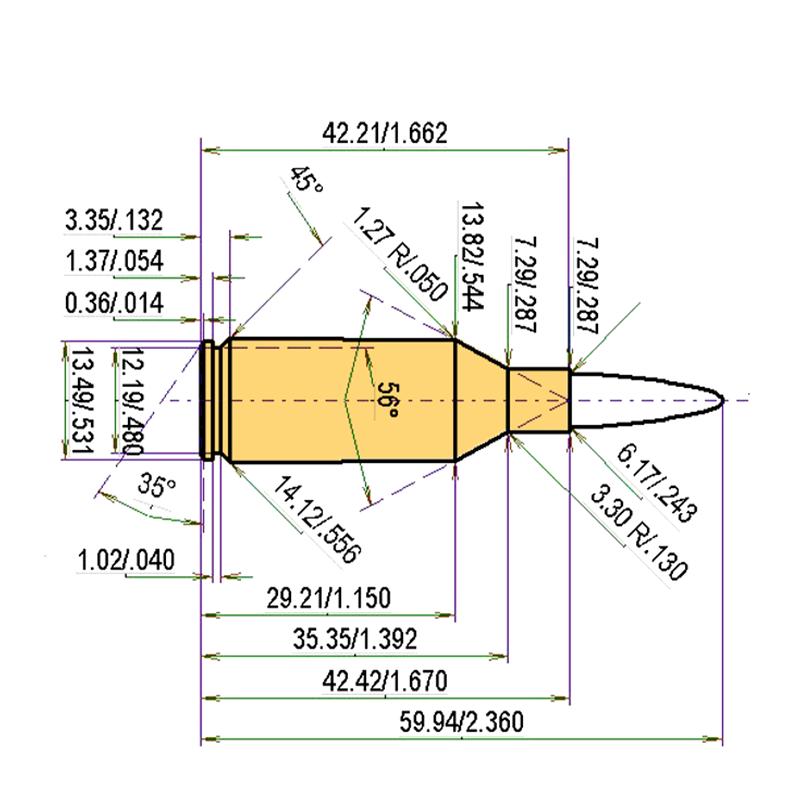 .243 WSSM Cartridge Dimensions
