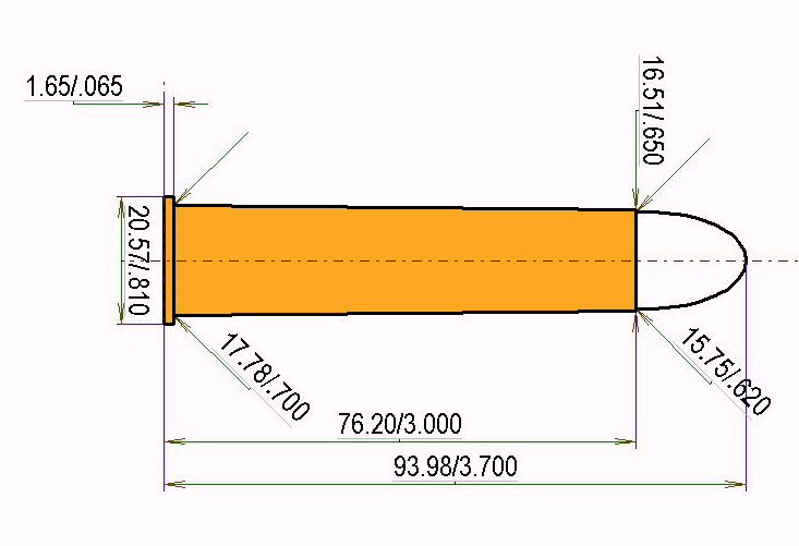 .600 N.E. Cartridge Dimensions