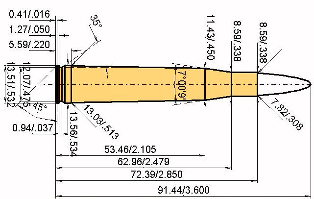 .300 H & H Mag. Cartridge Dimensions