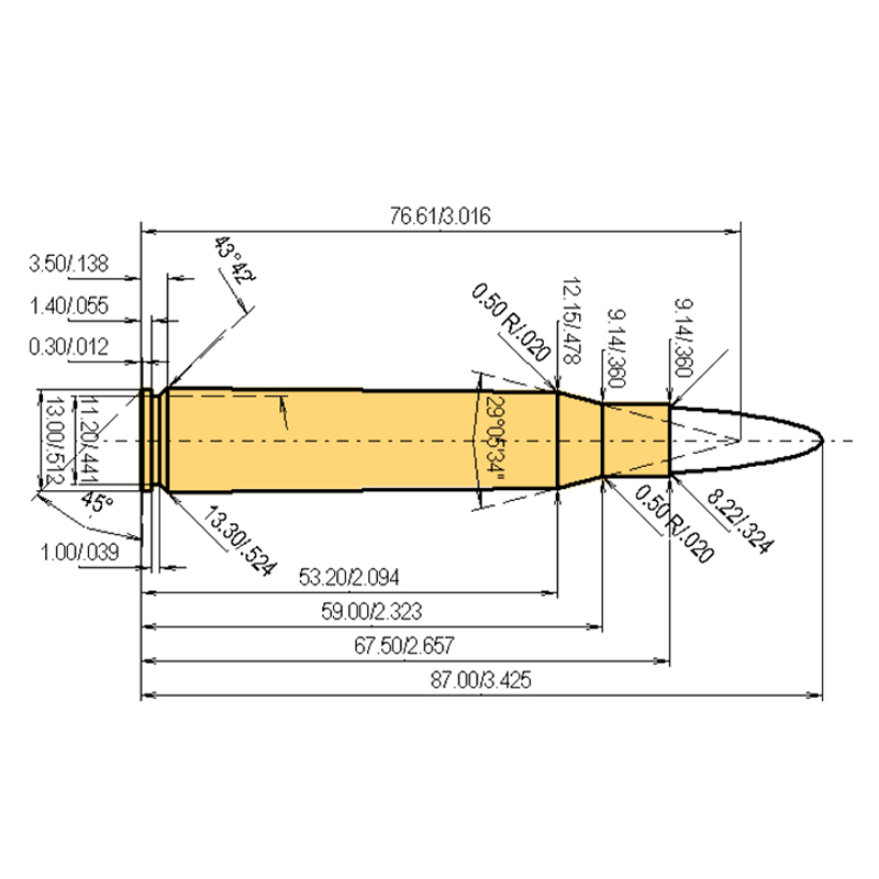 8 x 68 S Cartridge Dimensions