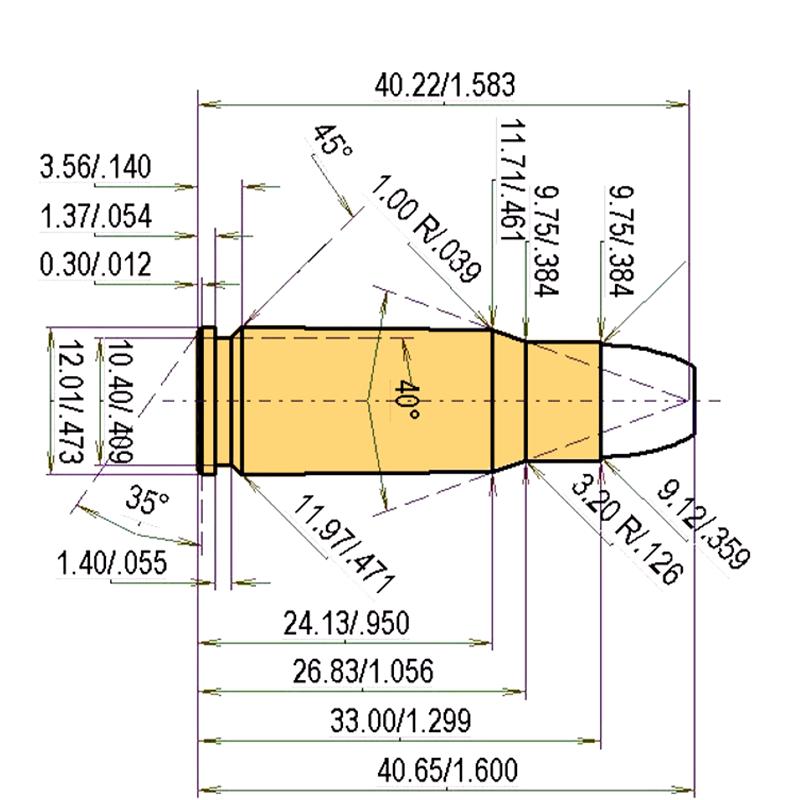 .357 Auto Magnum Cartridge Dimensions