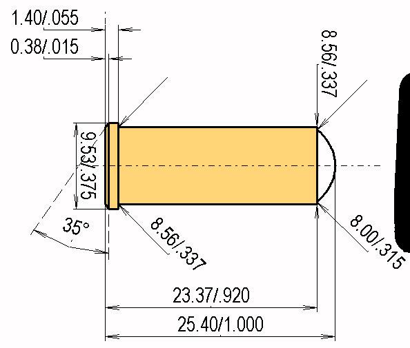 .32 S&W Long Wad Cut. Cartridge Dimensions