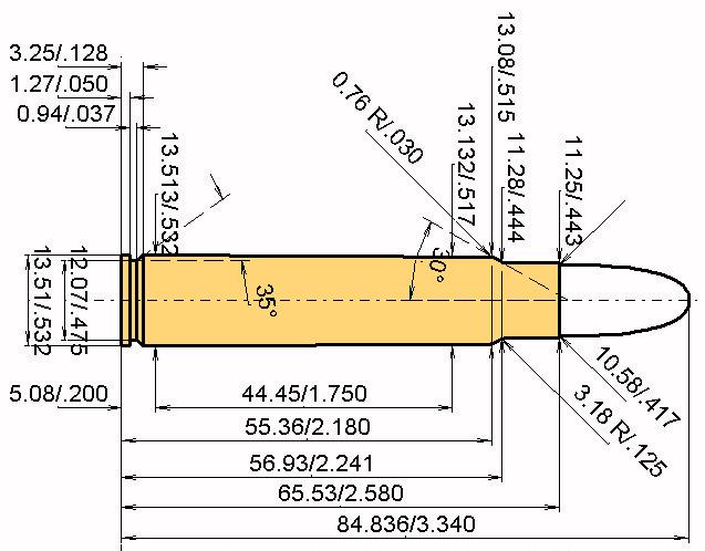 .416 Ruger Cartridge Dimensions