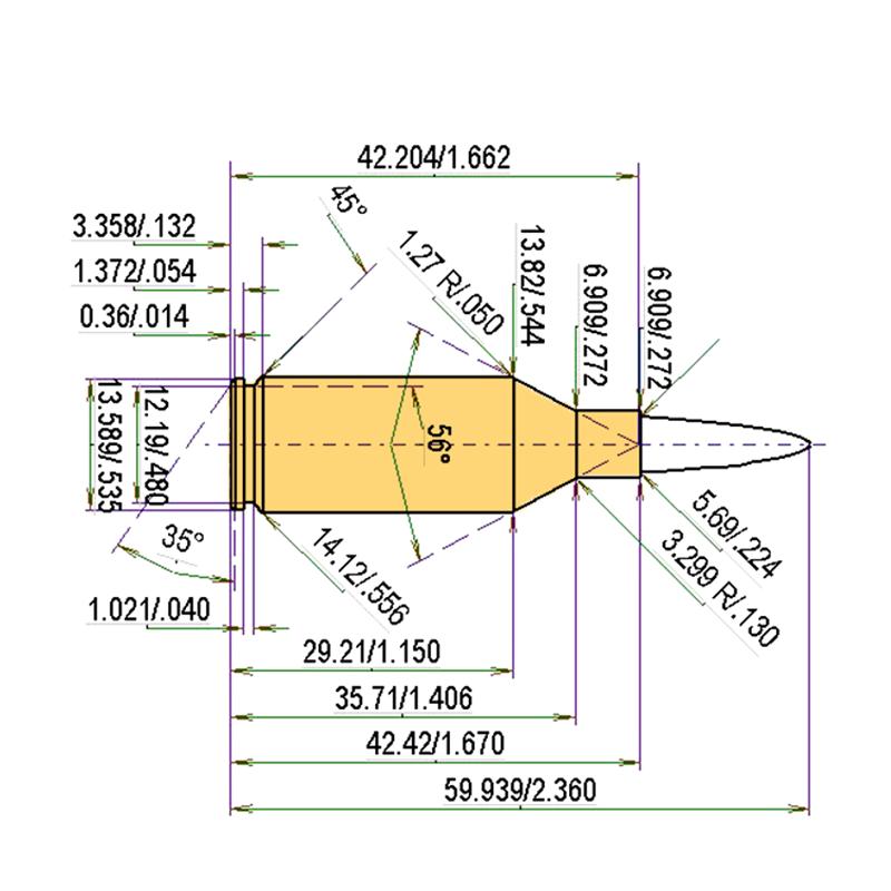 .223 WSSM Cartridge Dimensions