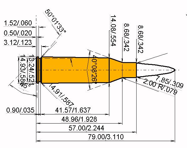 7.62 UKM Cartridge Dimensions