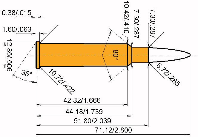 6.5 x 52 R K&S Cartridge Dimensions