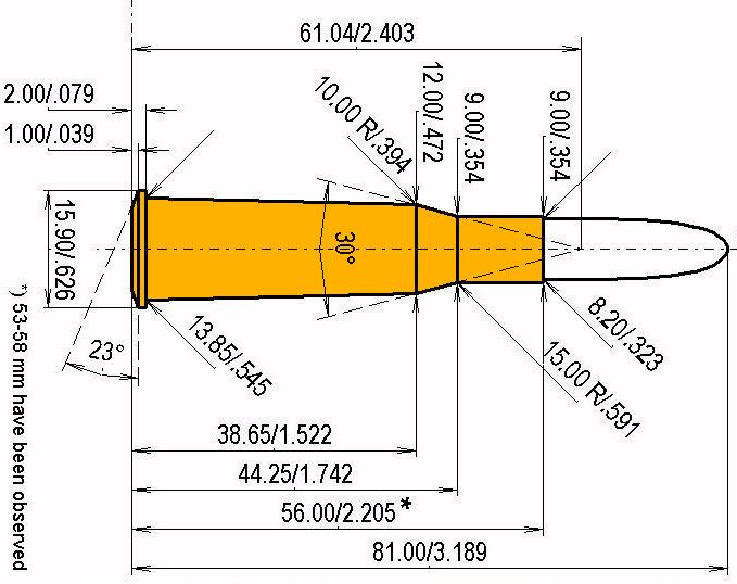 8 x 56 R M 89 Port. Krop. Cartridge Dimensions