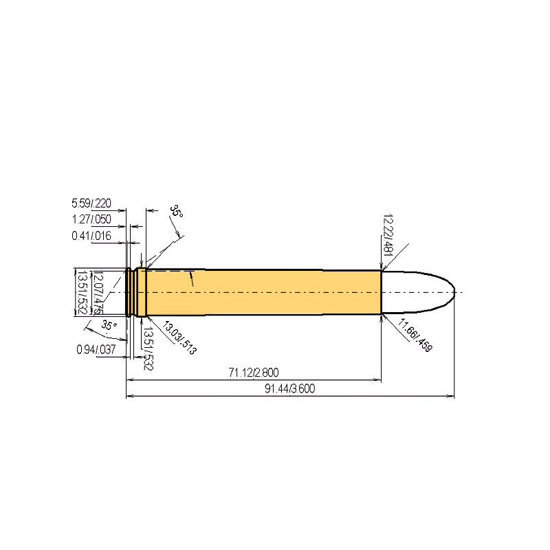 .458 Lott Cartridge Dimensions