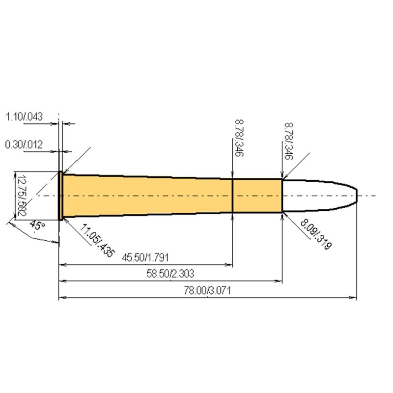 8 x 58 R Cartridge Dimensions