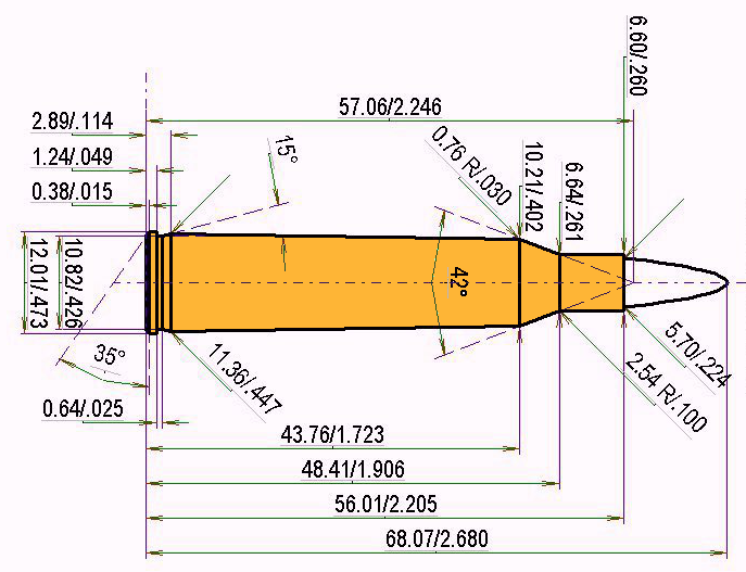 .220 Swift Cartridge Dimensions