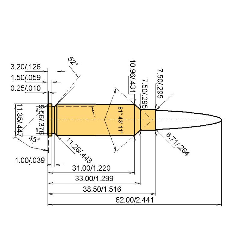 .260 PICRA Cartridge Dimensions