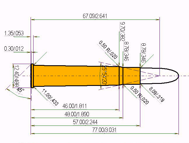 8 x 57 R 360 Cartridge Dimensions