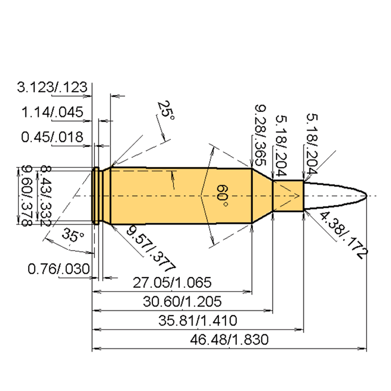 .17 Rem. Fireball Cartridge Dimensions