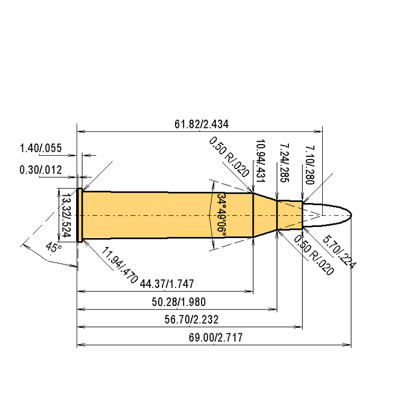 5.6 x 57 R Cartridge Dimensions