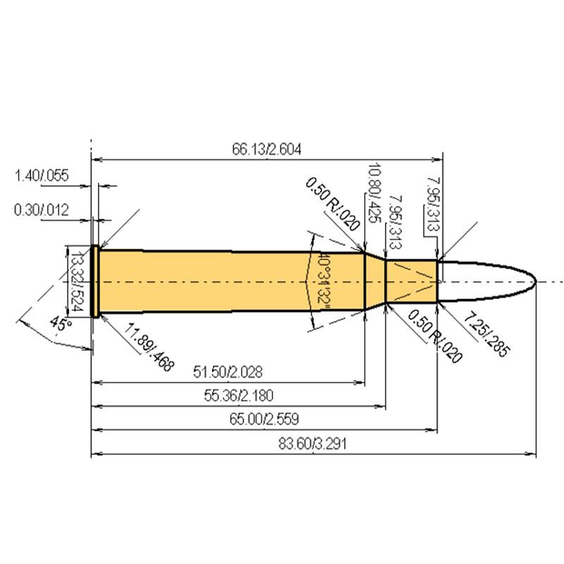 7 x 65 R Brenneke Cartridge Dimensions