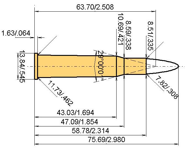.30 Fl. N.E. Purdey Cartridge Dimensions