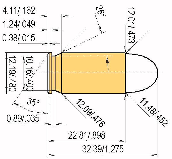 .45 Auto (ACP) Cartridge Dimensions