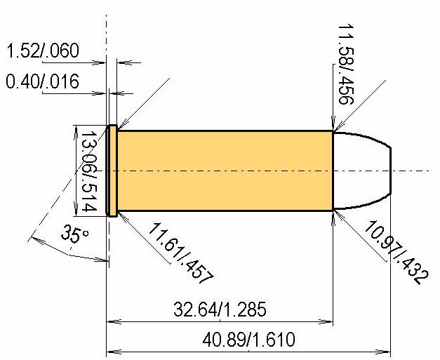 .44 Rem. Mag. Cartridge Dimensions