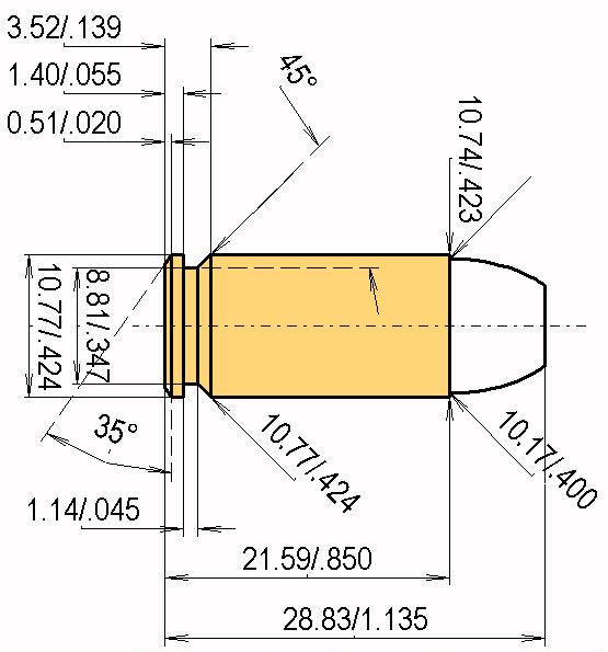 .40 S&W Cartridge Dimensions