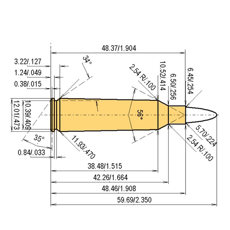 .22-250 Rem. Cartridge Dimensions