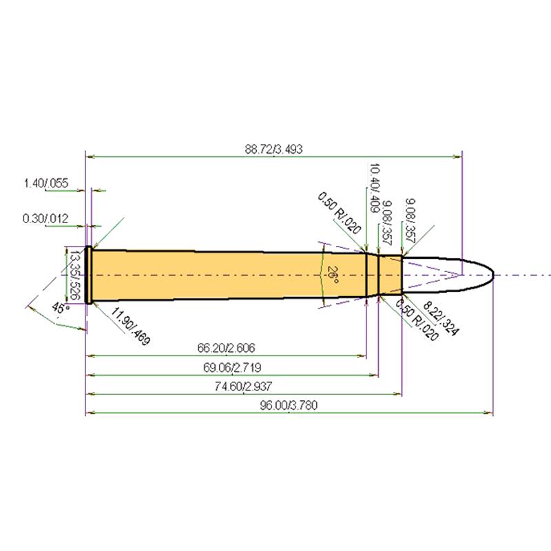 8 x 75 RS Cartridge Dimensions