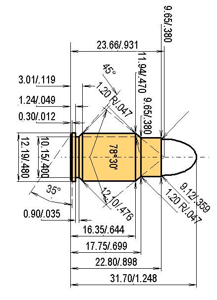 .38-45 ACP Cartridge Dimensions