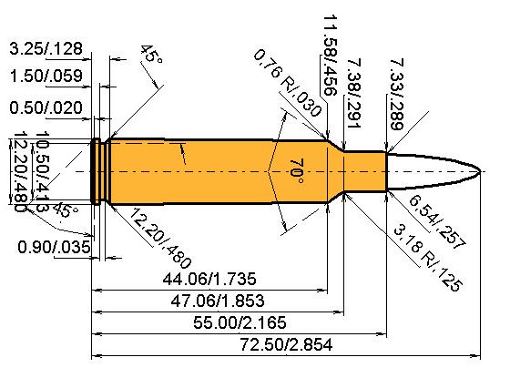 .255 GS Cartridge Dimensions