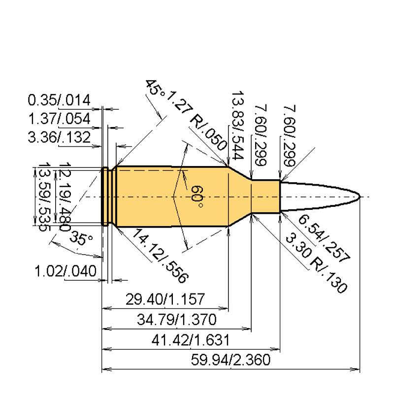 .25 WSSM Cartridge Dimensions