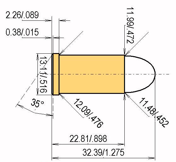 .45 Auto Rim Cartridge Dimensions