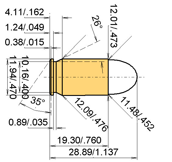 .45 Glock Auto Pistol Cartridge Dimensions