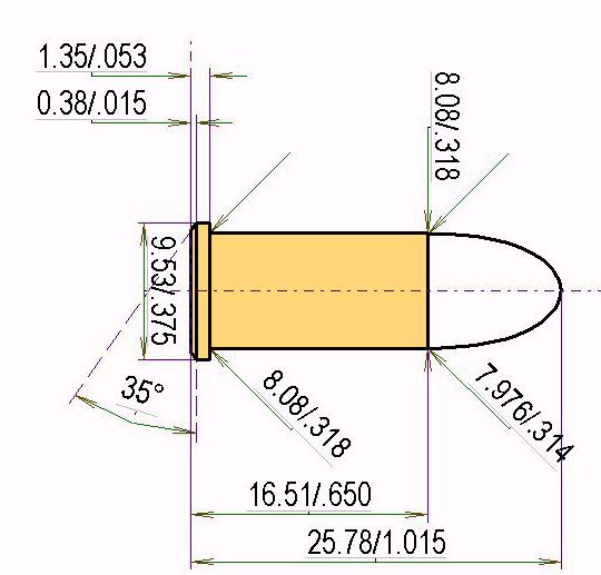 .32 Short Colt Cartridge Dimensions