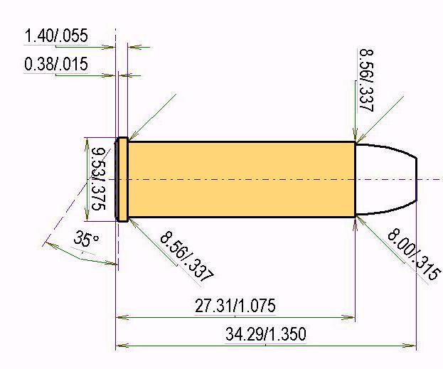 .32 H&R Magnum Cartridge Dimensions