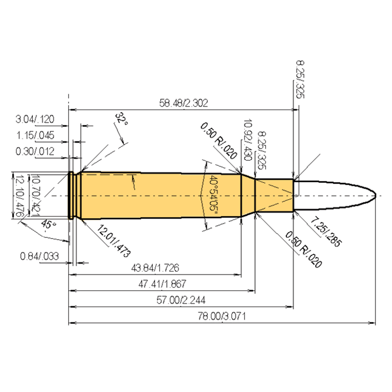 7 x 57 mm Mauser Cartridge Dimensions