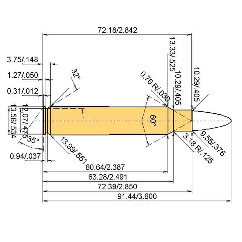 .375 Rem. Ultra Mag Cartridge Dimensions