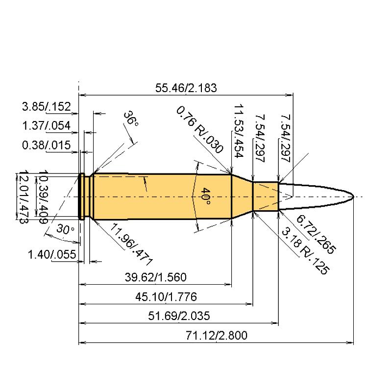 .260 Rem. Cartridge Dimensions