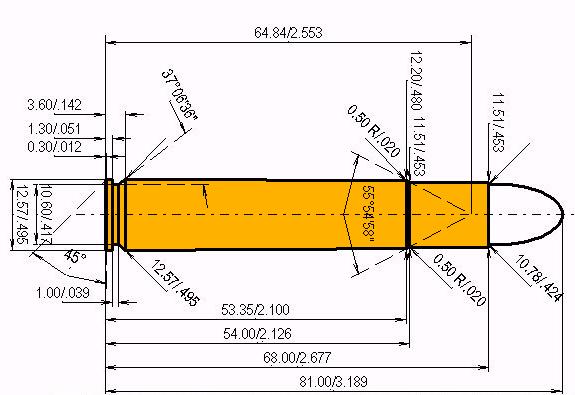10.75 x 68 Cartridge Dimensions