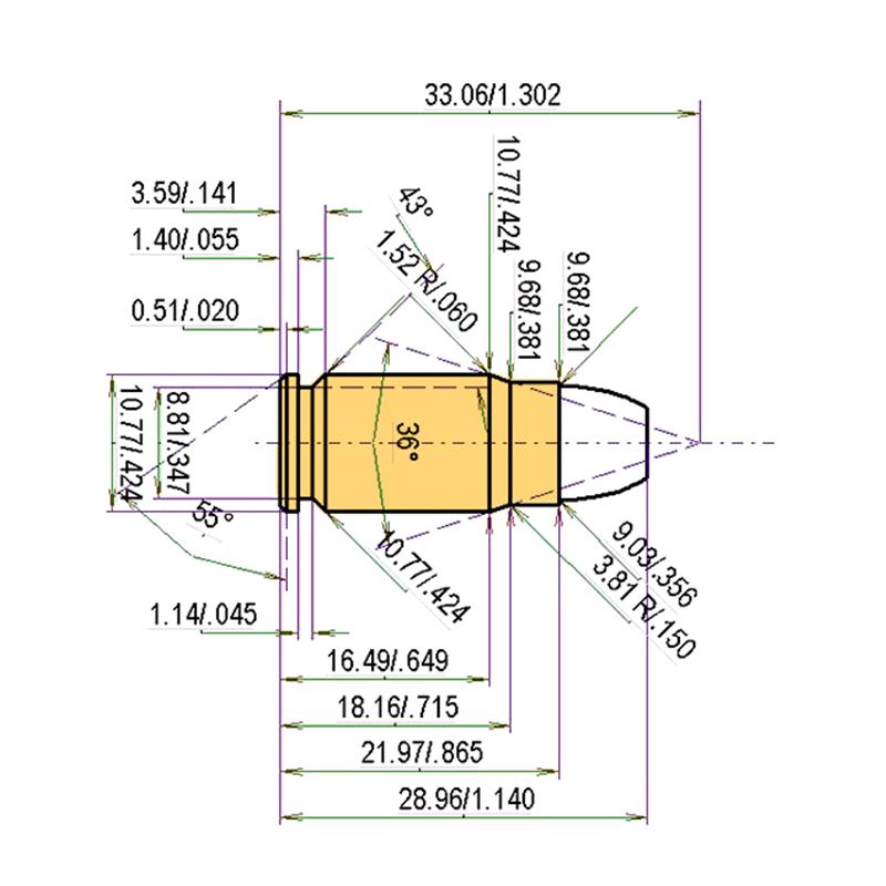 .357 SIG Cartridge Dimensions
