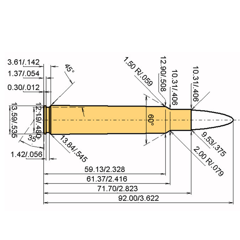 .375 Blaser Mag Cartridge Dimensions