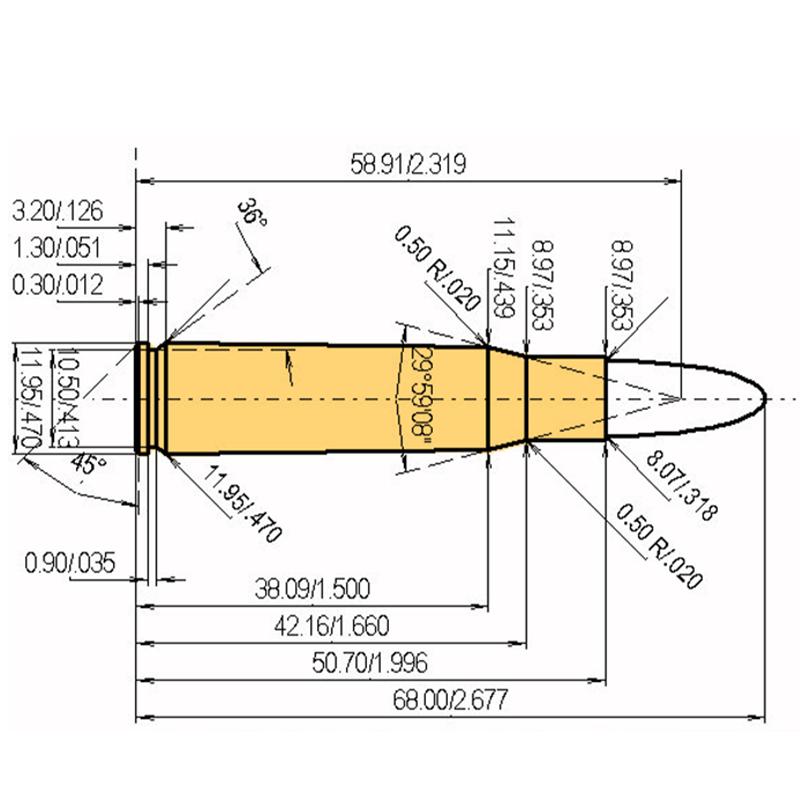 8 x 51 mm Mauser Cartridge Dimensions
