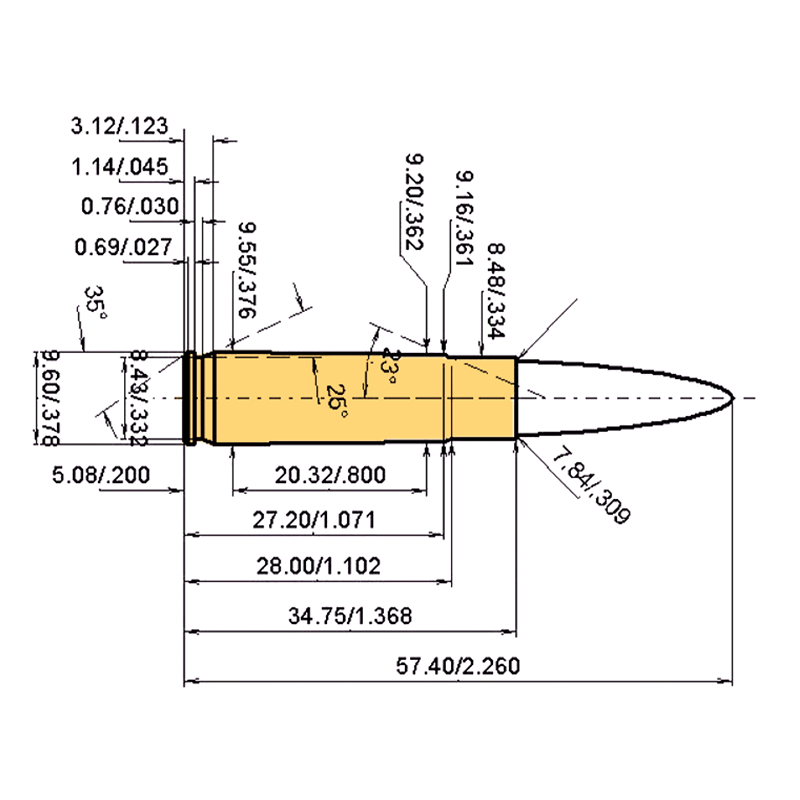 .300 AAC Blackout Cartridge Dimensions